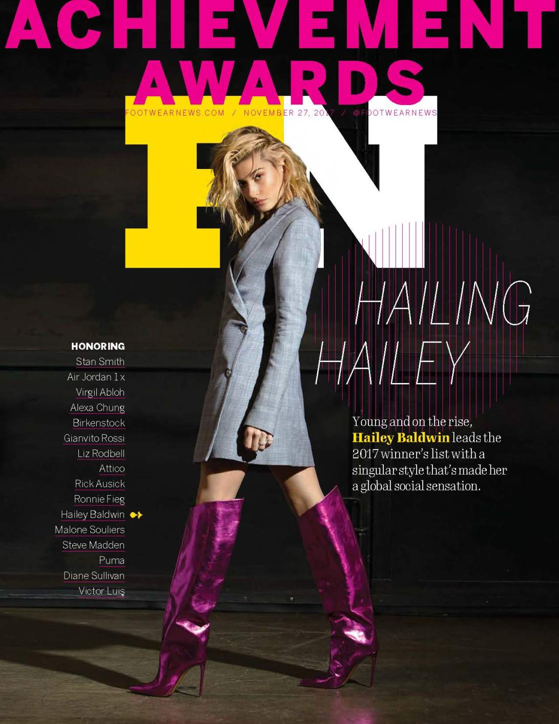 nia groce, footwear news, hailey baldwin